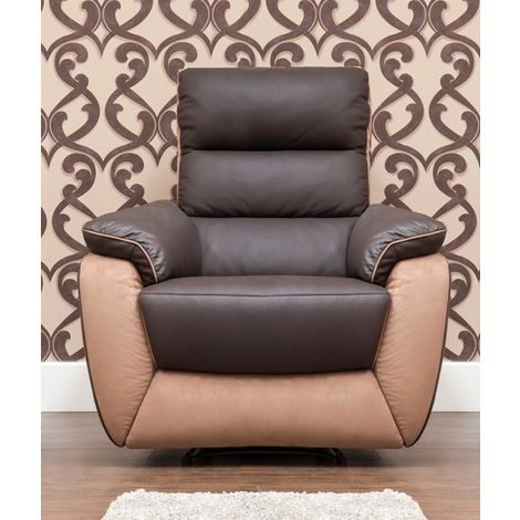Ritz Reclining Armchair Leather And Fabric Available In Espresso