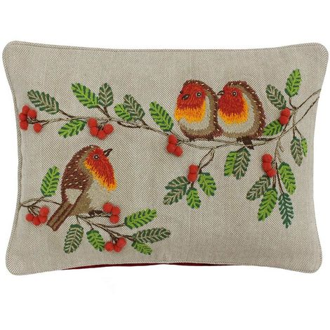 Riva Home Artisan Christmas Robins Design Feather Filled Cushion (35 x 50cm) (Multicoloured)