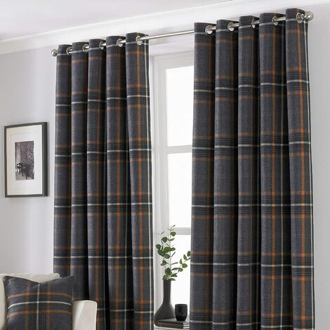 Riva Home Aviemore Checked Pattern Ringtop Curtains