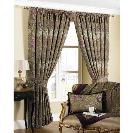 Riva Home Berkshire Pencil Pleat Curtains (66x90 (168x229cm)) (Hyacinth)