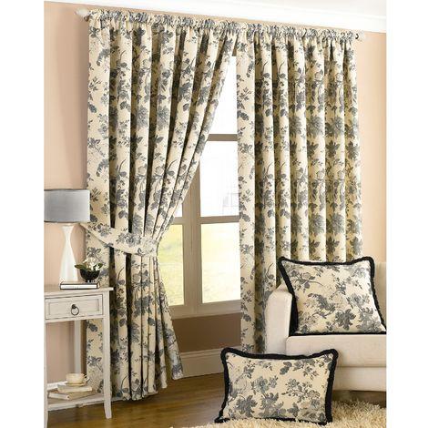 Riva Home Berkshire Ringtop Curtains (66x72 (168x183cm)) (Black/Ivory)