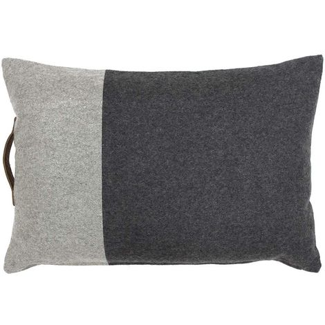 Riva Home Bloc Two Toned Feather Filled Cushion With Leather Handle (40 x 60cm) (Charcoal)