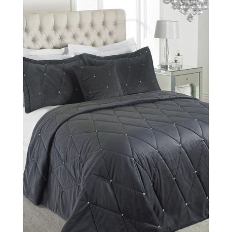 Riva Home Diamante Bedspread Set (220 x 240cm) (Pewter)