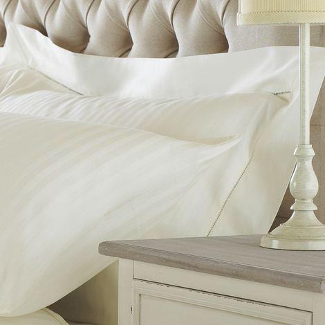 Riva Home Eton Satin Stripe Pillow case (Oxford (Singles)) (Cream)