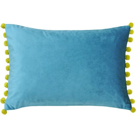 Riva Home Fiesta Rectangular Feather Filled Cushion With Pom Pom Edges (35 x 50cm) (Teal/Bamboo Green)