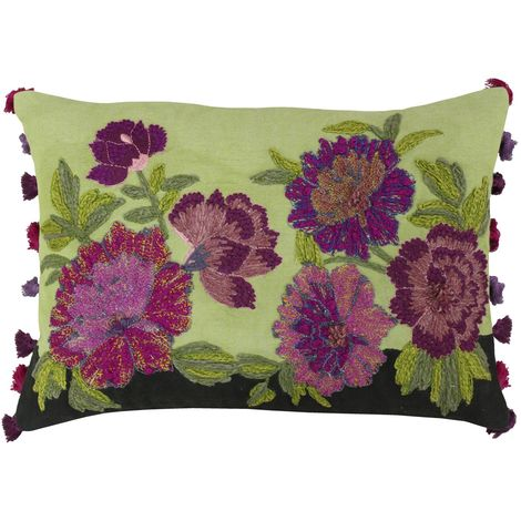 Riva Home Fiori Cushion Cover (35 x 50cm) (Green/Magenta)