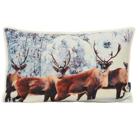 Riva Home Glitter Stag Cushion Cover (30 x 50cm) (Cream)