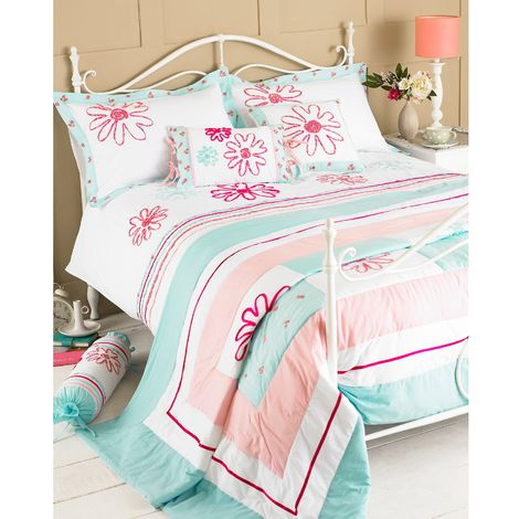 Riva Home Harriet Bedspread (240x260cm) (Duck Egg/Pink)