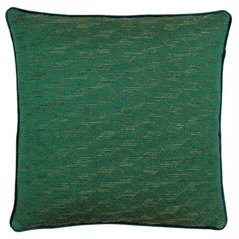 Riva Home Highbury Geometric Cube Design Feather Filled Cushion (50 x 50cm) (Emerald Green/Gold)