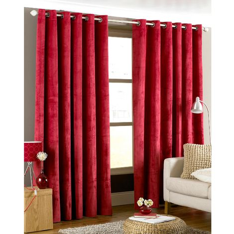 Riva Home Imperial Ringtop Curtains (90x90 (229x229cm)) (Red)