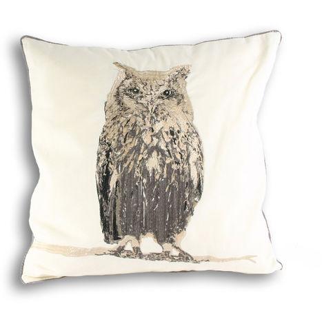 Riva Home Owl Square Cushion Cover (45x45cm) (Cream)