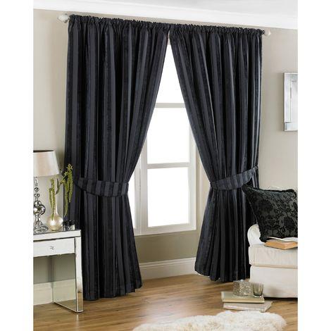 Riva Home Salzburg Striped Pencil Pleat Curtains (90 x 90in (229 x 229cm)) (Black)