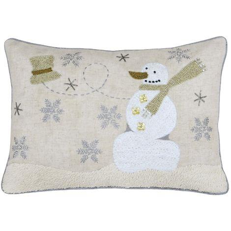 Riva Home Snowman Cushion Cover (35 x 50cm) (Cream)