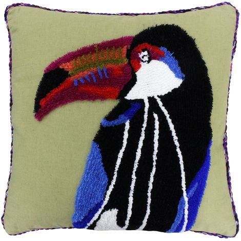 Riva Home Toco Toucan Design Feather Filled Cushion (50 x 50cm) (Khaki Green)