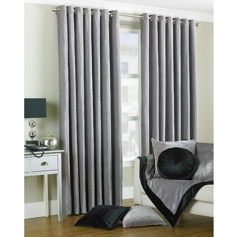 Riva Home Wellesley Ringtop Curtains (66x72 (168x183cm)) (Silver)