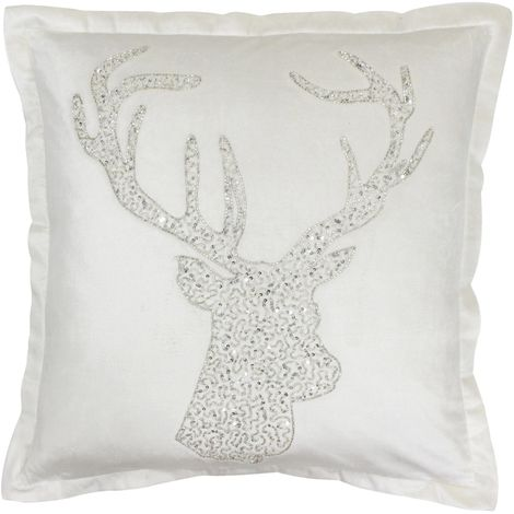 Riva Home Wonderland Stag Christmas Feather Filled Cushion
