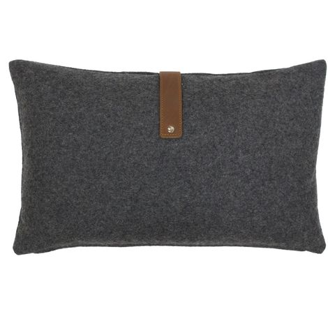 Riva Paoletti Brix Cushion Cover With Leather Strap (30x50cm) (Charcoal)
