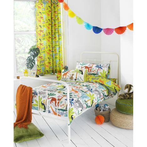 Riva Paoletti Childrens/Kids Jungletastic Ringtop Eyelet Curtains (168x183cm) (Multicolour)