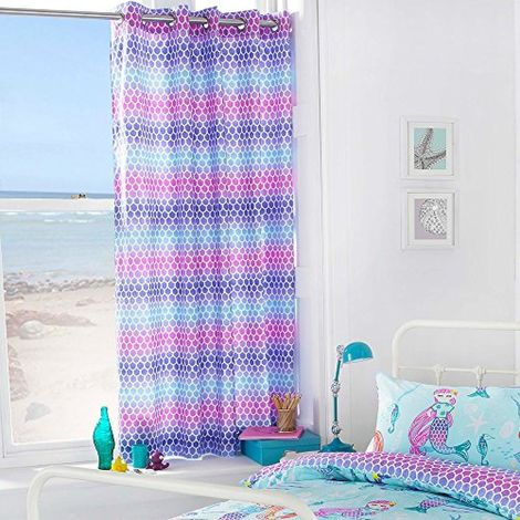 Riva Paoletti Childrens/Kids Mermaid Ringtop Eyelet Curtains (168x183cm) (Multicolour)
