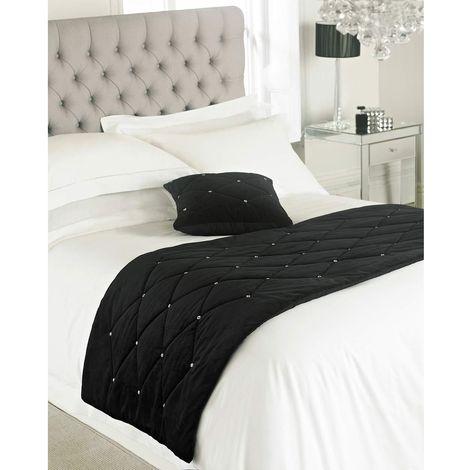 Riva Paoletti New Diamante Bed Runner (70 x 220cm) (Black)