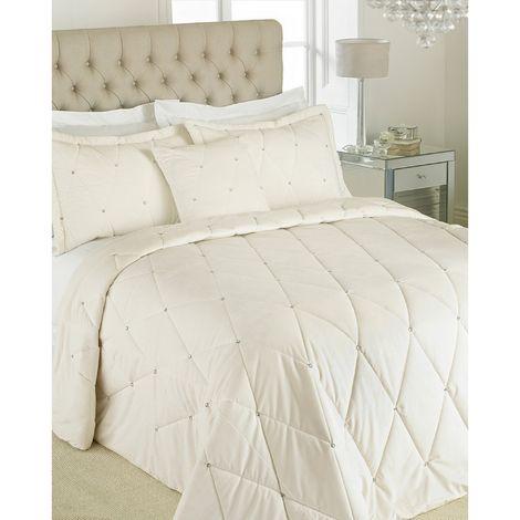 Riva Paoletti New Diamante Bedspread Set (220 x 240cm) (Cream)