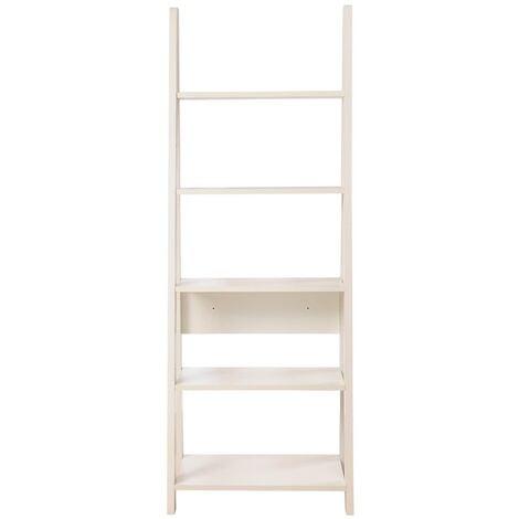 Riva Retro 5 Tier Ladder Bookcase Shelving Shelf Display Unit White
