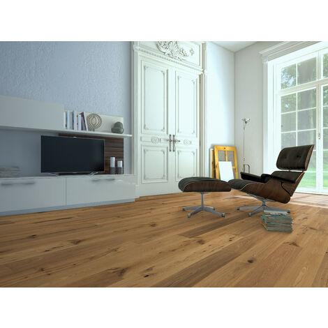 Rivage - Parquet chêne contrecollé chêne brossé huilé naturel rustic 14/3x170x500-1825 mm (colis = 2,482m2)
