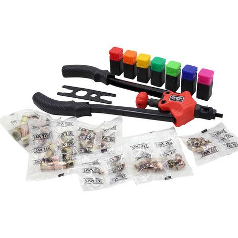 Pince rivets de traction Pince pour rivets aveugles Écrous à sertir Set 7 Mandrins interchangeables