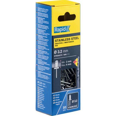 Rivets Inoxydables diam3.2 x 8mm INOX - Blister de 50 + foret Blister RAPID