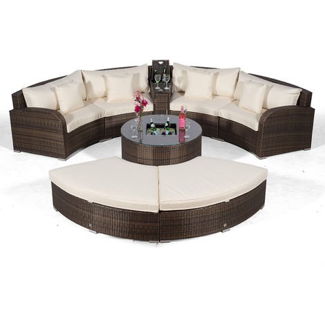 Riviera 4 Seat Brown Rattan Garden Furniture Set + Coffee Table Cooler + 2 Armrest Consoles & 2 Stools + Outdoor Furniture Covers | 8 pcs Round Rattan Sofa Set | Rattan Patio Conservatory Furniture