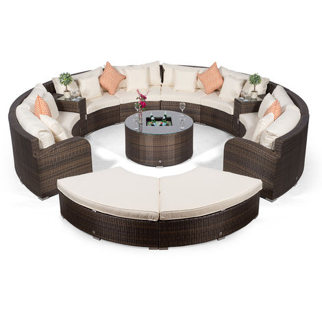 Riviera 8 Seat Brown Poly Rattan Garden Furniture Set + Coffee Table Cooler, 2 Armrest Consoles, 2 Stools & Outdoor Furniture Covers | 13pc Round Rattan Sofa Set | Rattan Patio Conservatory Furniture