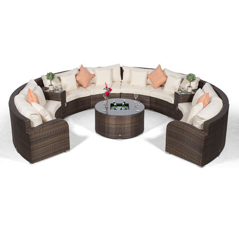 Riviera 8 Seat Brown Rattan effect Garden Furniture Set + Coffee Table Ice Cooler + 2 Ice Bucket Armrest + Outdoor Furniture Covers | 11pc Round Rattan Sofa Set | Rattan Patio Conservatory Furniture