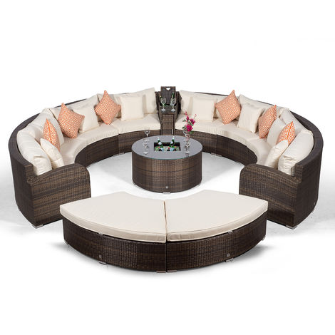 Riviera 8 Seat Brown Rattan Garden Furniture Set + Coffee Table Cooler + 1 Armrest Console & 2 Stools + Outdoor Furniture Covers | 13 pcs Round Rattan Sofa Set | Rattan Patio Conservatory Furniture