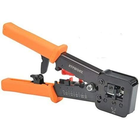 RJ45 Crimping Tool for RJ11 / RJ12 Network and Telephone Cables - Modular Telecom 3-in-1 Crimping Tool Network Cable Pliers Ratchet Crimping Pliers for 6P / 8P Network Cable