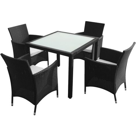 Roan 4 Seater Dining Set with Cushions by Dakota Fields - Black