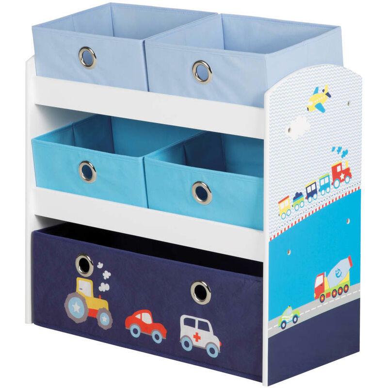 Unité de rangement pour jouets Racer Bleu 63,5x30x60 cm MDF - Roba