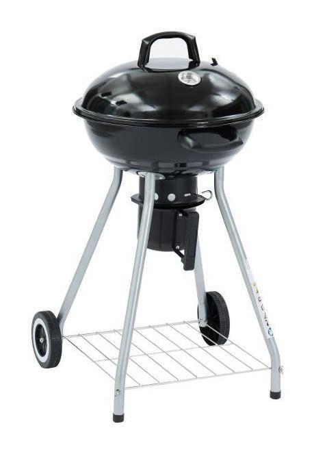 Relaxdays Barbecue charbon de bois Grill Smoker fumoir couvercle boule BBQ 6 personnes roues HxlxP 70x46x46 cm noir