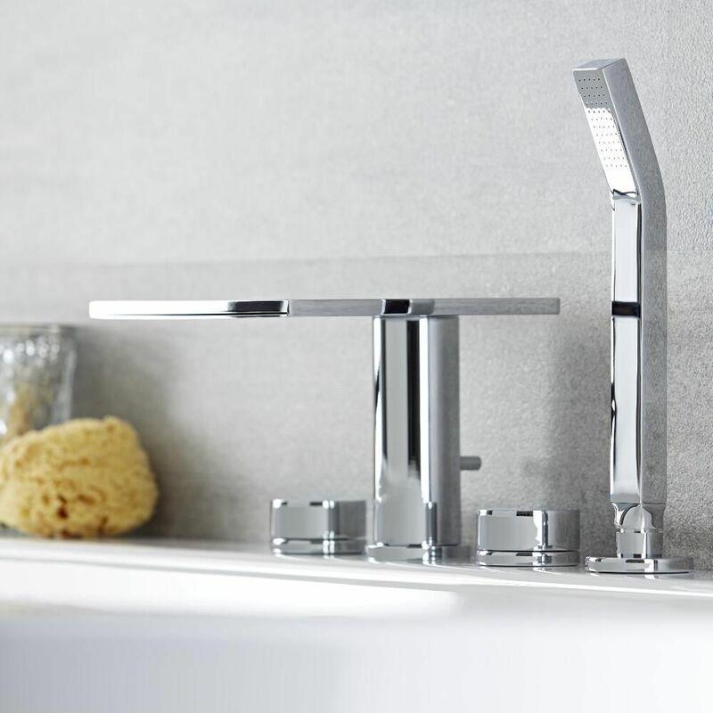 mitigeur de baignoire cascade montage mural pour salle de bain lavabo ou baignoire avec support mural Noir Robinetterie de baignoire avec douchette