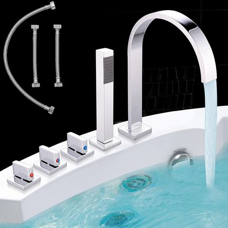Robinet de baignoire à 5 trous,douchette à main, robinetterie bord de baignoire ensemble chromé