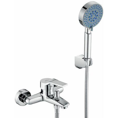 Robinet de baignoire avec Douchette et Flexible de douche Mitigeur de Baignoire Cascade Robinet de douche Mitigeur de Bain en Laition Robinetterie monocommande pour Salle de bain