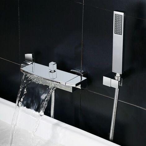 Robinet de baignoire encastré contemporain avec douchette