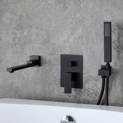 Robinet de baignoire encastré moderne avec douchette en laiton solide