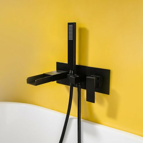 Robinet de baignoire encastré sophistiqué en noir solide avec douchette Noir