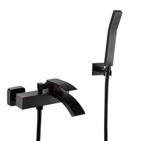 Robinet de baignoire mural contemporain avec douchette en noir antique