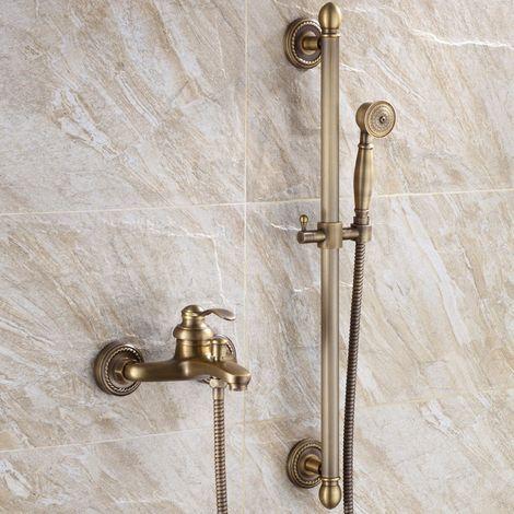 Robinet de baignoire mural style vintage en laiton solide Laiton antique
