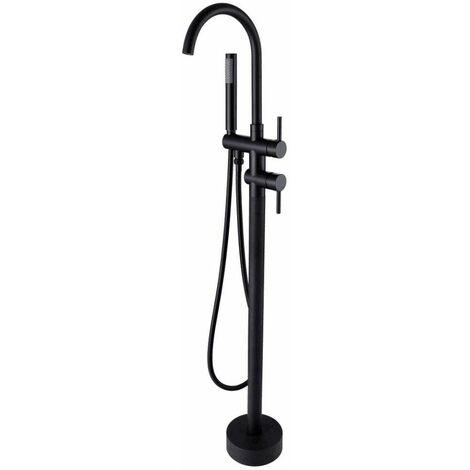 Robinet de baignoire sur pied à col de cygne et douchette en noir solide