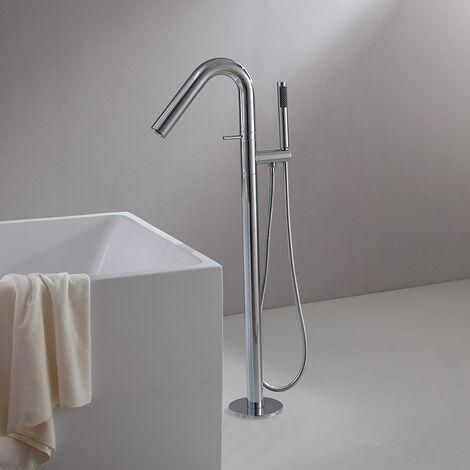 Robinet de baignoire sur pied contemporain avec fixation au sol et douchette