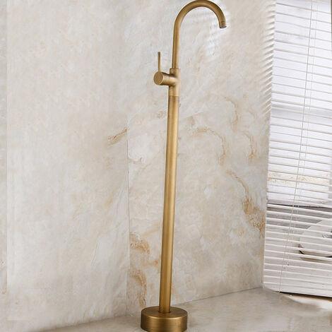 Robinet de baignoire sur pied moderne avec bec pivotant et finition en doré