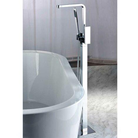 Robinet de baignoire sur pied sophistiqué avec douchette en chromé poli