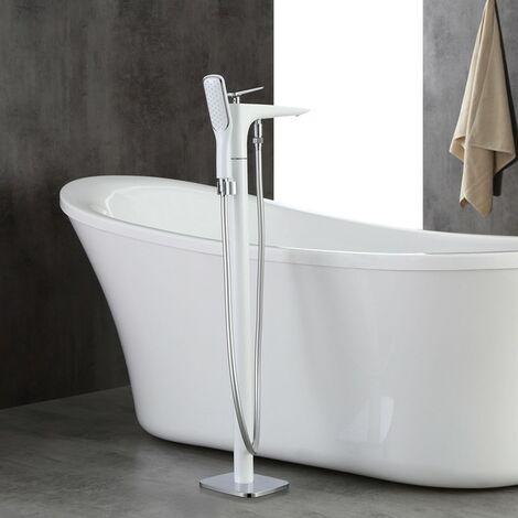 Robinet de baignoire sur pied sophistiqué monté au sol en laiton solide